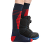Profile of kid legs facing to the right wearing Edge Over the Calf Midweight Ski & Snowboard socks in Eclipse, with a snowboard boot on the back foot