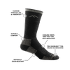 Image of a Hunter Boot Sock in Charcoal calling out all of the features and benefits