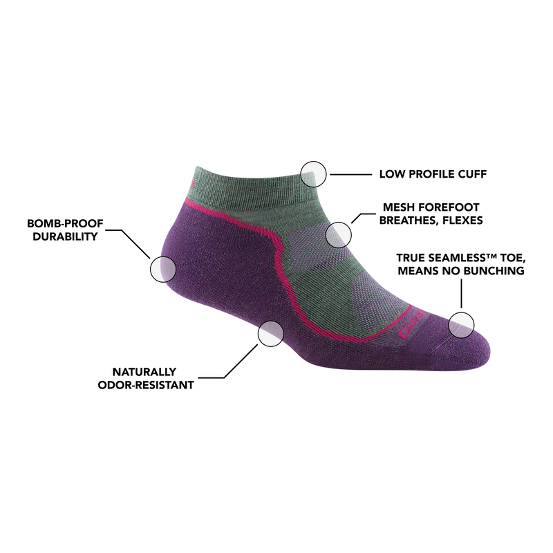 Image of Women's Light Hiker No Show Lightweight Hiking Sock in Moss calling out all of the features of the sock