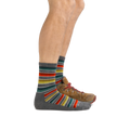 Profile of male legs facing right wearing Decade Stripe Micro Crew Midweight Hiking Socks in Gray and the foot in the back is also wearing a hiking boot