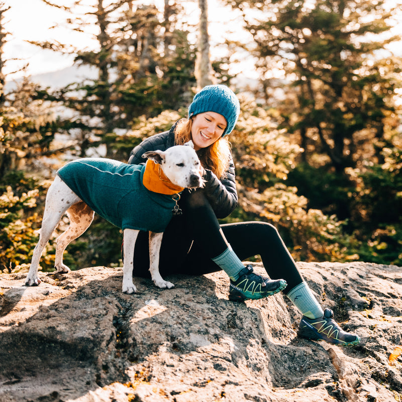Female hiker sitting on a rock, petting a dog, wearing Women's Hiker Micro Crew Hiking sock in Aqua Heather, Lifestyle Image