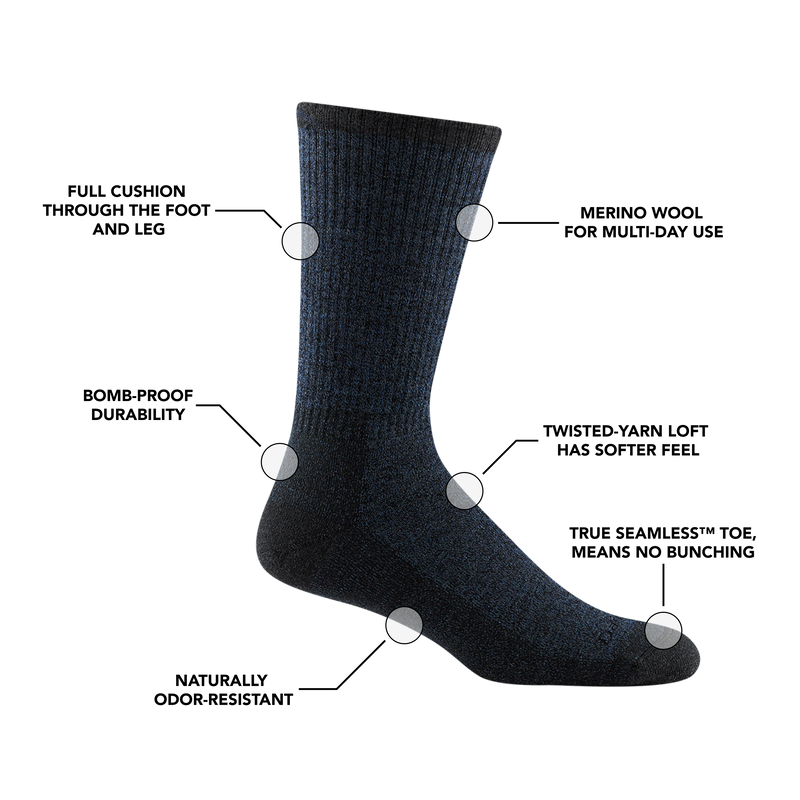 Image of Men's Nomad Boot Sock in Denim calling out all of the features and benefits