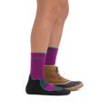 Profile of kid legs facing to the right wearing Light Hiker Micro Crew Lightweight Hiking socks in Clover with rear foot also wearing a boot