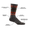Image of Men's VanGrizzle Boot Sock in Taupe calling out all of the features and benefits