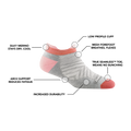Image of Women's Run No Show Tab Ultralightweight Running Sock in Ash calling out all of the features