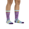 Image of a woman's legs on a white background wearing Women's Waves Crew Lightweight Lifestyle Sock in Purple