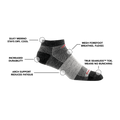 Image of 1437 No Show Athletic Sock in Charcoal calling out all of the features of the sock