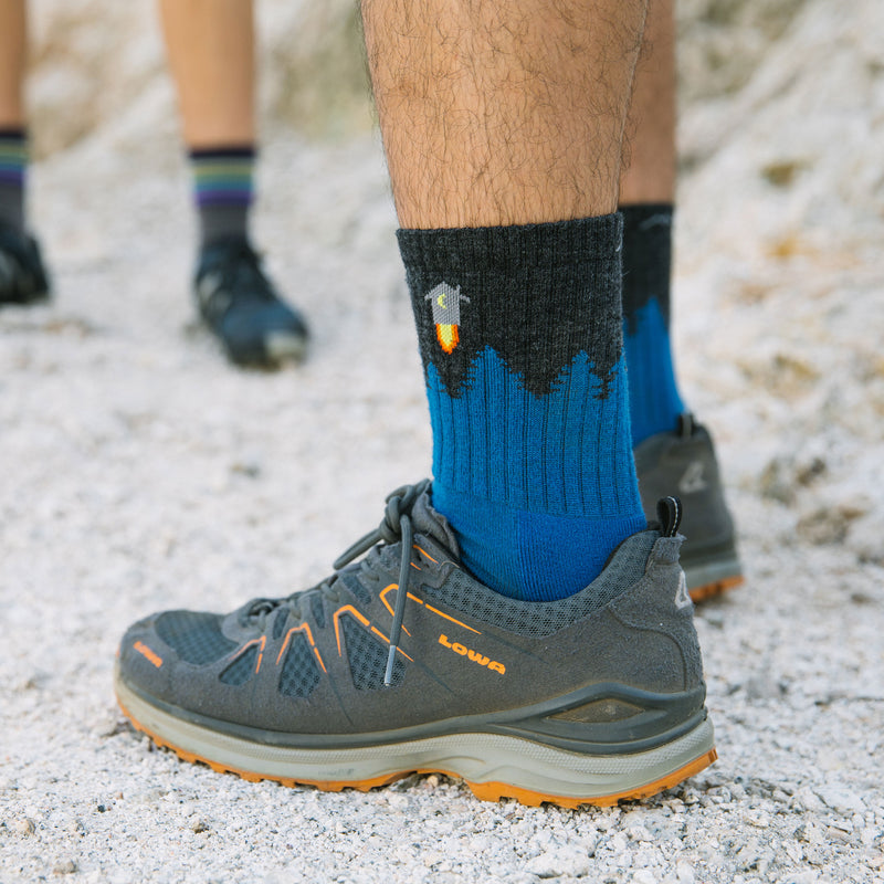 Close up image of a man's feet, wearing hiking shoes on gravel wearing Men's Number 2 Socks in Charcoal, Lifestyle Image