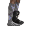 Profile image of a woman's legs on a white background wearing Women's Juniper Over the Calf Midweight Ski & Snowboard Socks in Gray with a snowboard boot on one foot