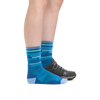 Profile image of a woman's legs on a white background, facing to the right, wearing Women's Checkpoint Micro Crew Ultra-Lightweight Running Socks in Baltic with a shoe on one foot