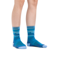 Image of a woman's legs on a white background wearing Women's Checkpoint Micro Crew Ultra-Lightweight Running Socks in Baltic