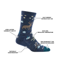 Image of Women's Folktale Crew Lifestyle Sock in Denim calling out all of the features of the sock
