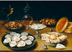 Dishes with Fruit, Oysters and Wine