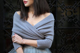 One Size Fall Fashion Grey Off the Shoulder Crop Knit Sweater - Crystalline