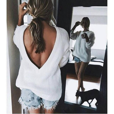 Drop Shoulder Open Back V Neck White Sweater