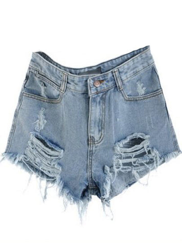 Blue Mid Waist Ripped Denim Short - Crystalline