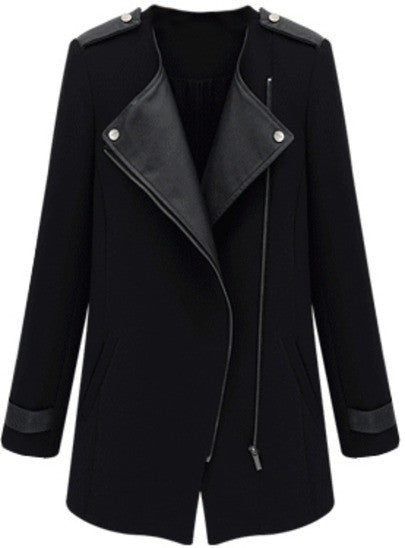 Black Contrast PU Leather Trims Oblique Zipper Coat - Crystalline