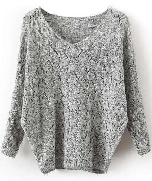 Fall Fashion Grey V Neck Long Sleeve Hollow Sweater - Crystalline