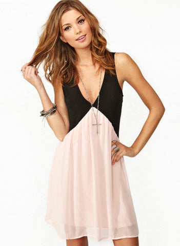 Black Pink Foam Deep V Neck Hollow Chiffon Dress - Crystalline