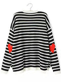 Fall Fashion Black White Long Sleeve Striped Heart Print Sweater - Crystalline