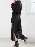 Dresses Black Chiffon Dress with Deep V Neck and Self-Tie Pockets