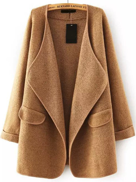 Fall Fashion Khaki Lapel Long Sleeve Loose Sweater Coat - Crystalline