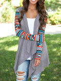 Fall Fashion Grey Geometric Print Drape Front Knit Cardigan - Crystalline