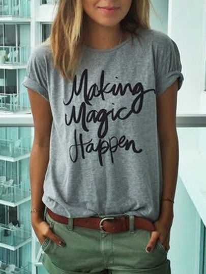 "Plain Grey T Shirt ""Making Magic Happen"" Trendy Grey T-Shirt with Khaki Shorts"