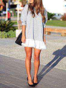 Casual Chic Dress Grey White Color Block Dress Perfect Outfit for City in Fall - Crystalline