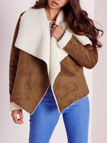 Camel Coat Fur Jacket in Khaki with Lapel and Blue Jeans