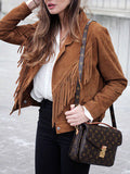 Camel Biker Jacket with Tassels