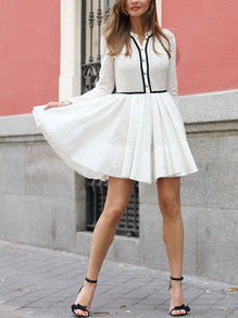 Preppy White Skater Dress With Contrast Trims and Eyelet Design