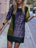 Purple Gold Black Sequins Dress