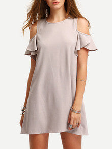 Nude Cold Shoulder Ruffle Sleeves Shift Mini Dress