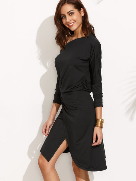 Black Assymetrical Long Sleeve Dress