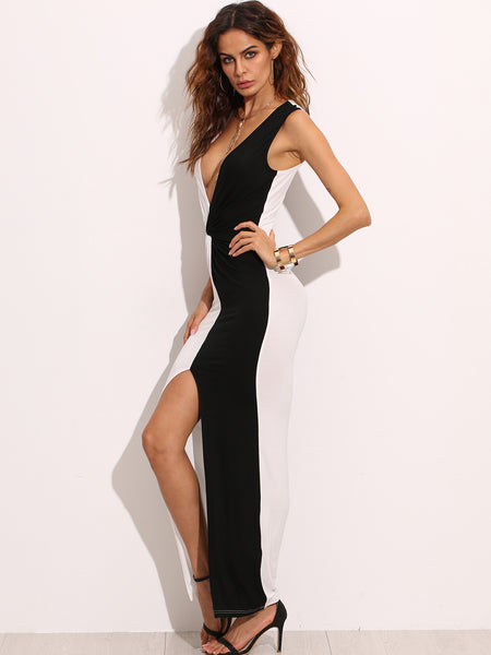 Black and White  Twist Front Long Slit Maxi Dress
