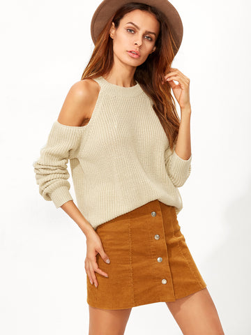 Apricot Cold Shoulder Long Sleeve Sweater