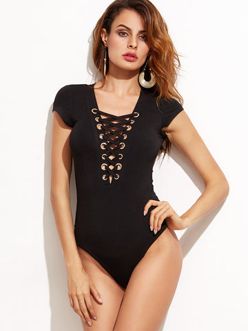 Black Deep V Neck Eyelet Lace Up Bodysuit - Crystalline