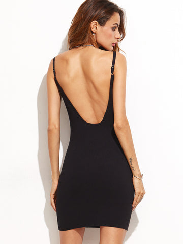 Black Scoop Neck Backless Bodycon Knitted Dress - Crystalline
