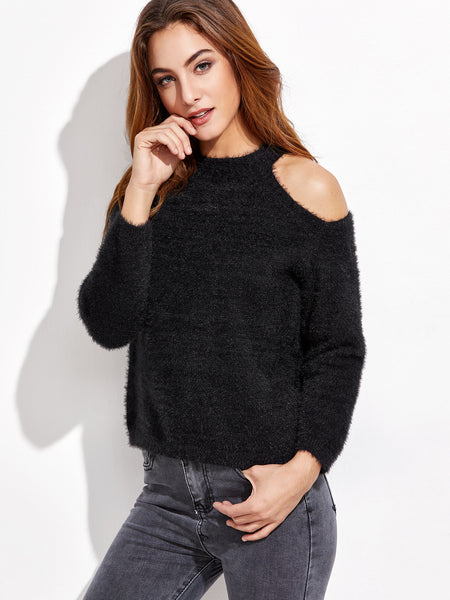 Black Cold Shoulder Fuzzy Sweater
