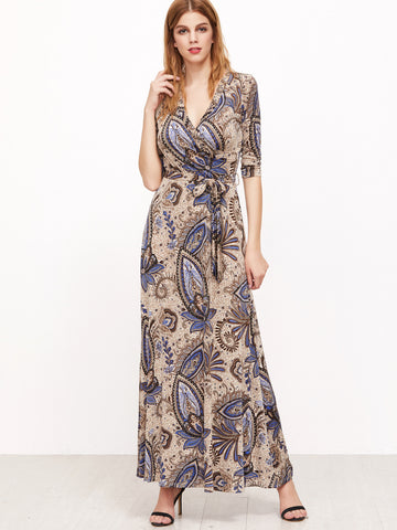 Apricot Tribal Print Self Tie Long Maxi Dress
