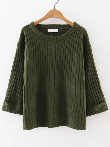 Army Green Rolled Cuff Sweater