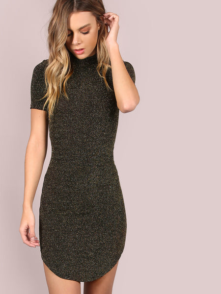 Black Mock Neck Bodycon Dress - Crystalline