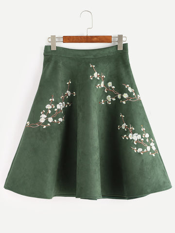 Army Green Flower Suede Skirt