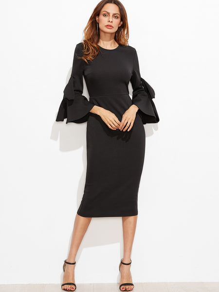 Black Bow Pencil Dress - Crystalline