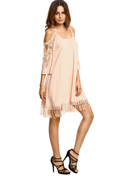 Apricot Crochet Lace Sleeve Tassel Dress