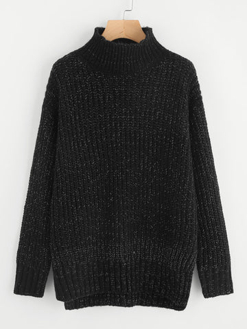 Black Marled Stepped Hem Knit Slit Jumper