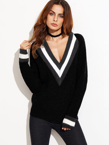 Black Sweater With Striped Deep V Neck And Cuff