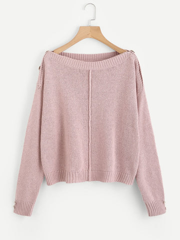 Pink Overlap Shoulder Buttoned Sweater