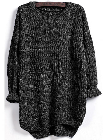 Grey Marled Knit Jumper With A Dip Hem